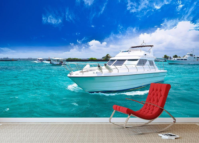 Luxury yatch in beautiful ocean Wall Mural Wallpaper - Canvas Art Rocks - 1