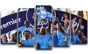 MANCHESTER CITY PREMIER LEAGUE WINNERS 2019 5 Split Panel Canvas - Canvas Art Rocks - 1