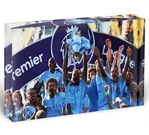 MANCHESTER CITY PREMIER LEAGUE WINNERS 2019 Acrylic Block - Canvas Art Rocks - 1