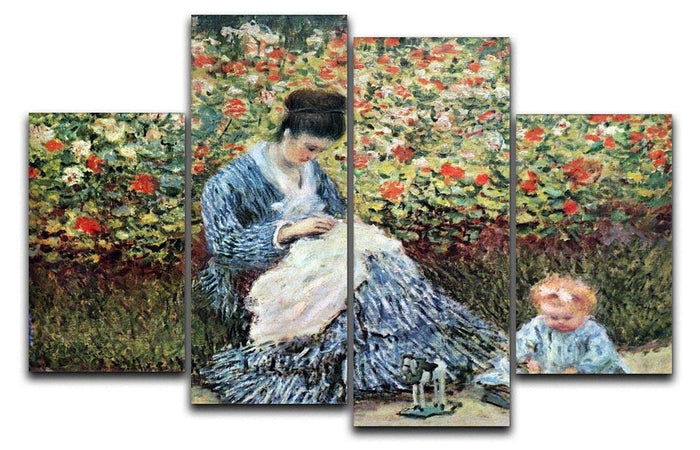 Madame Monet and child by Monet 4 Split Panel Canvas