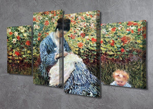Madame Monet and child by Monet 4 Split Panel Canvas - Canvas Art Rocks - 2