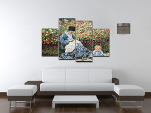 Madame Monet and child by Monet 4 Split Panel Canvas - Canvas Art Rocks - 3