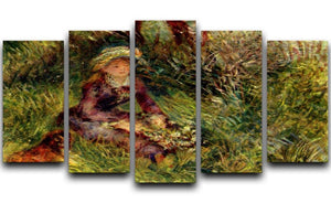 Madame Renoir with dog by Renoir 5 Split Panel Canvas  - Canvas Art Rocks - 1