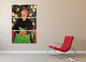 Madame Roulin Rocking the Cradle La Berceuse by Van Gogh 3 Split Panel Canvas Print - Canvas Art Rocks - 2