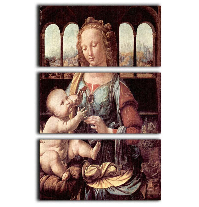 Madonna with the Carnation by Da Vinci 3 Split Panel Canvas Print