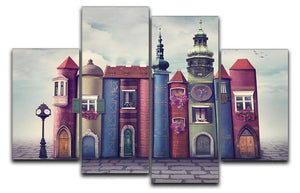 Magic city with old books 4 Split Panel Canvas  - Canvas Art Rocks - 1