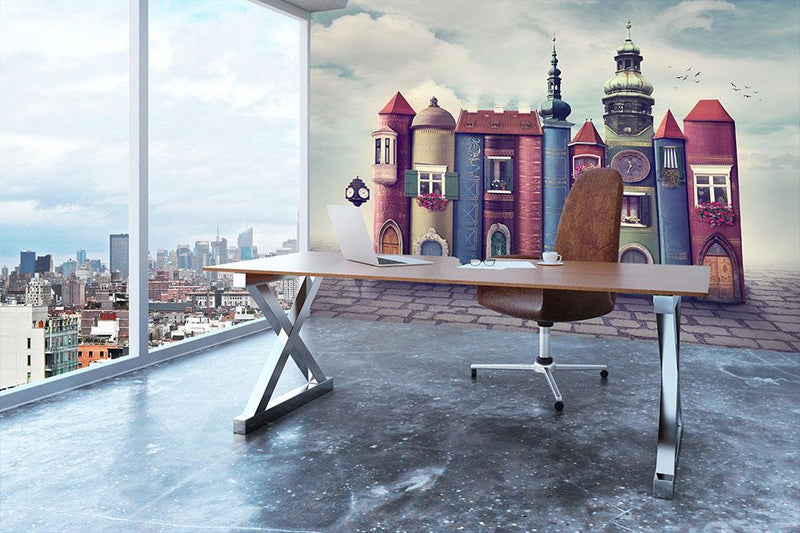 Magic city with old books Wall Mural Wallpaper - Canvas Art Rocks - 3