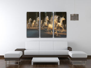 Magical Unicorn Forest 3 Split Panel Canvas Print - Canvas Art Rocks - 3