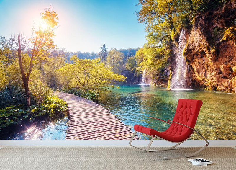 Majestic view on turquoise water Wall Mural Wallpaper - Canvas Art Rocks - 1