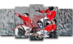 Man United Champions League Final 5 Split Panel Canvas  - Canvas Art Rocks - 1