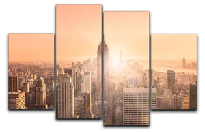 Manhattan downtown skyline with illuminated Empire State Building 4 Split Panel Canvas  - Canvas Art Rocks - 1