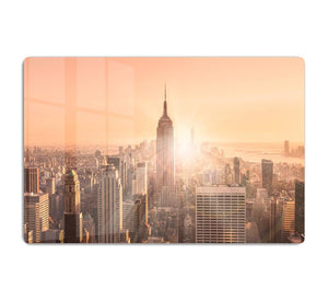 Manhattan downtown skyline with illuminated Empire State Building HD Metal Print