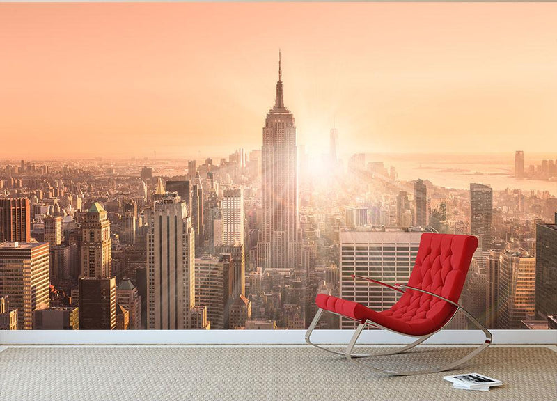 Manhattan downtown skyline with illuminated Empire State Building Wall Mural Wallpaper - Canvas Art Rocks - 1
