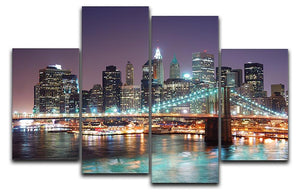 Manhattan skyline with skyscrapers over Hudson River 4 Split Panel Canvas  - Canvas Art Rocks - 1