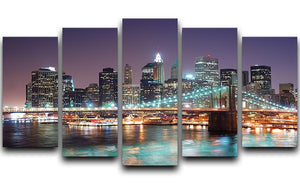 Manhattan skyline with skyscrapers over Hudson River 5 Split Panel Canvas  - Canvas Art Rocks - 1