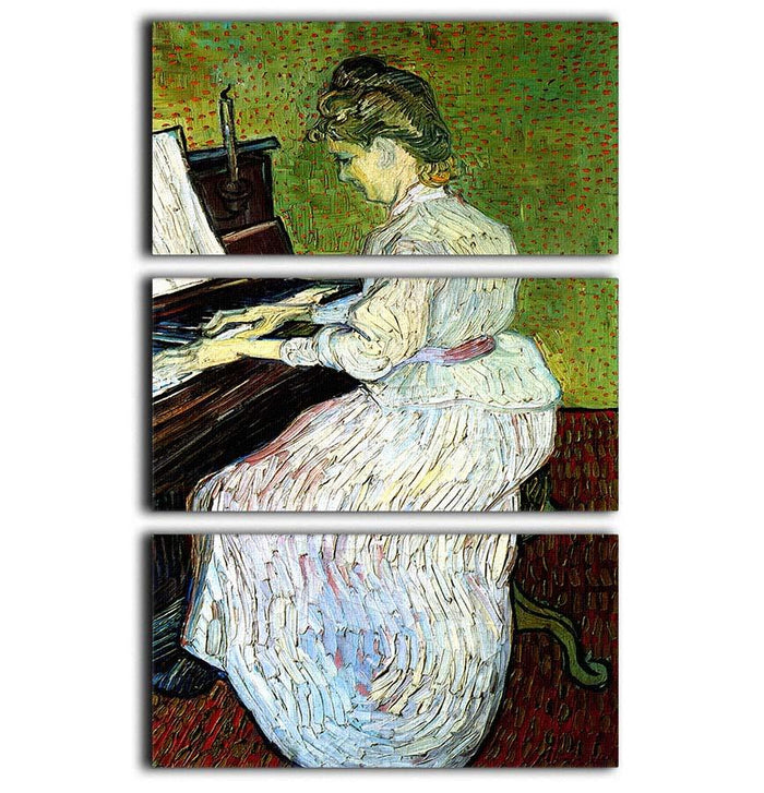 Marguerite Gachet at the Piano by Van Gogh 3 Split Panel Canvas Print
