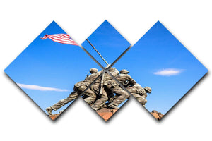 Marine Corps War Memorial at dawn 4 Square Multi Panel Canvas  - Canvas Art Rocks - 1