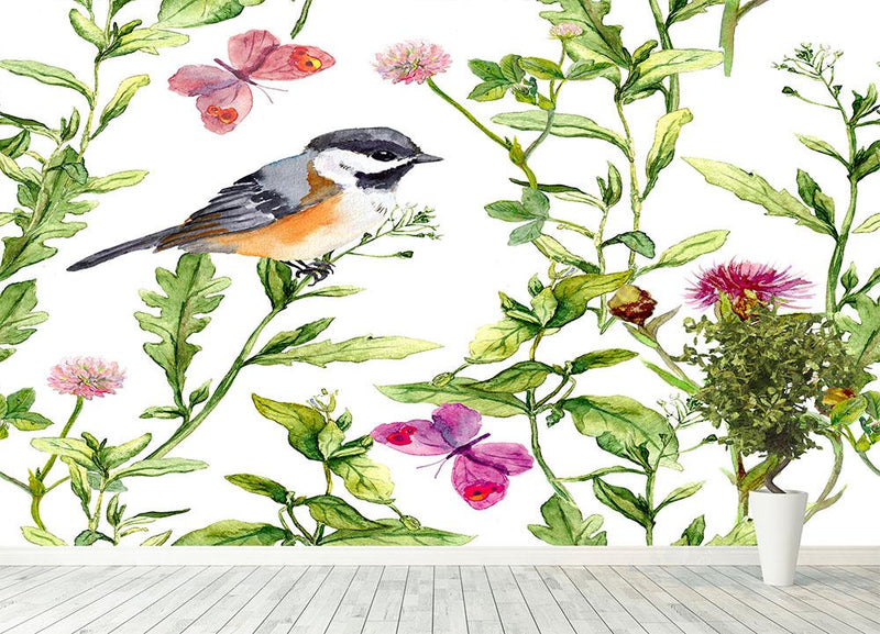 Meadow with butterflies Wall Mural Wallpaper - Canvas Art Rocks - 4