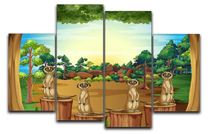 Meerkats standing on log 4 Split Panel Canvas  - Canvas Art Rocks - 1