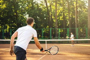 Men playing tennis Wall Mural Wallpaper - Canvas Art Rocks - 1
