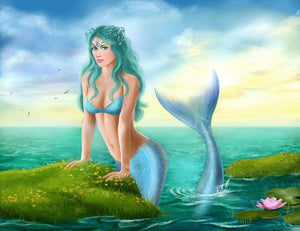 Mermaid in sea Wall Mural Wallpaper - Canvas Art Rocks - 1