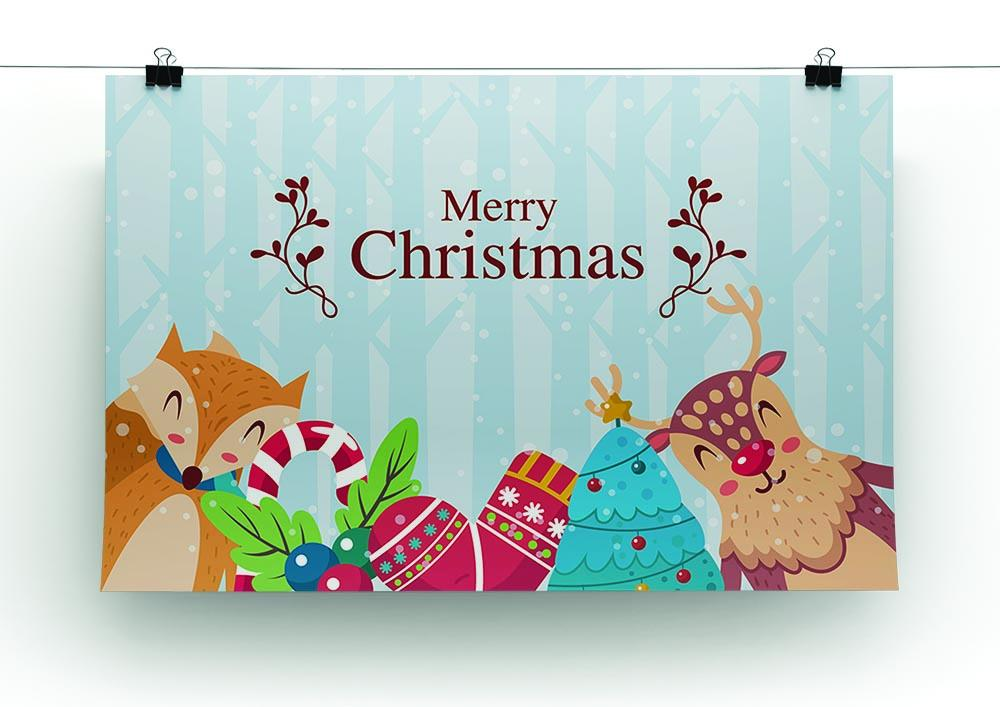 Merry Christmas Animals.Merry Christmas Animals Canvas Print Or Poster