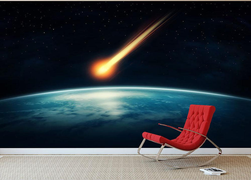 Meteor flying to the earth Wall Mural Wallpaper - Canvas Art Rocks - 1