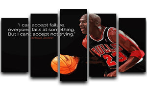 Michael Jordan Accept failure 5 Split Panel Canvas  - Canvas Art Rocks - 1