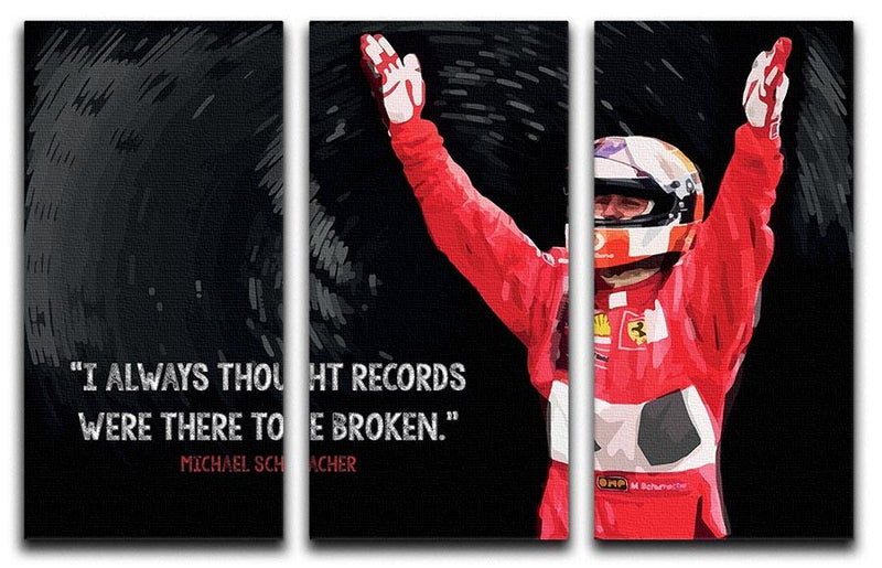 Michael Schumacher Records 3 Split Panel Canvas Print - Canvas Art Rocks - 1
