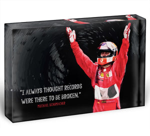 Michael Schumacher Records Acrylic Block - Canvas Art Rocks - 1