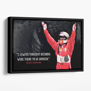Michael Schumacher Records Floating Framed Canvas