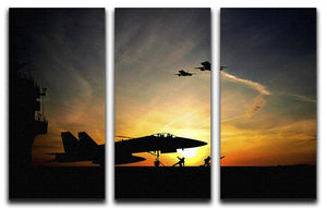 Military aircraft before take-off 3 Split Panel Canvas Print - Canvas Art Rocks - 1