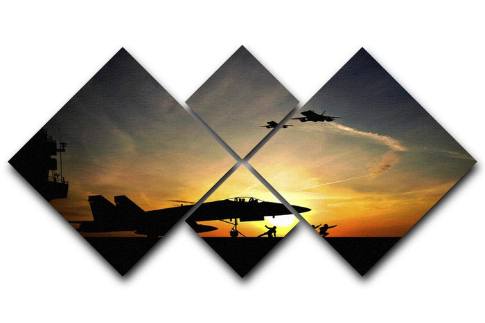 Military aircraft before take-off 4 Square Multi Panel Canvas