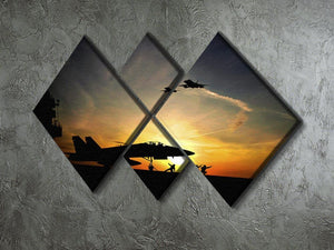 Military aircraft before take-off 4 Square Multi Panel Canvas  - Canvas Art Rocks - 2