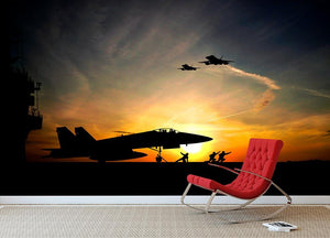 Military aircraft before take-off Wall Mural Wallpaper - Canvas Art Rocks - 2