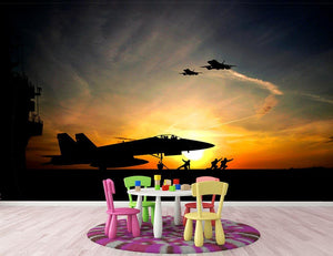 Military aircraft before take-off Wall Mural Wallpaper - Canvas Art Rocks - 3