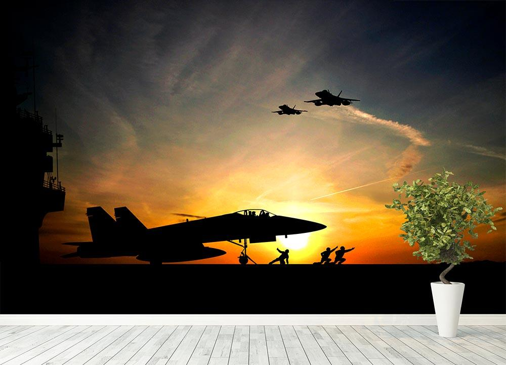 ... Military aircraft before take-off Wall Mural Wallpaper - Canvas Art Rocks - 4
