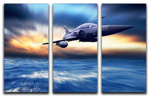 Military airplan on the speed 3 Split Panel Canvas Print - Canvas Art Rocks - 1