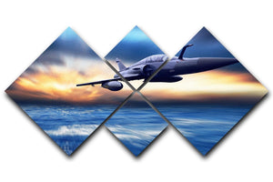 Military airplan on the speed 4 Square Multi Panel Canvas  - Canvas Art Rocks - 1