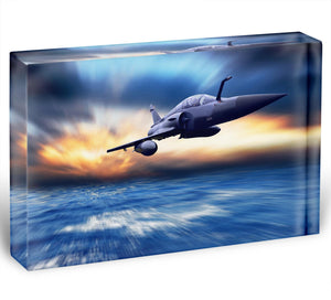 Military airplan on the speed Acrylic Block - Canvas Art Rocks - 1
