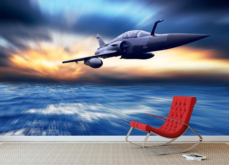 Military airplan on the speed Wall Mural Wallpaper - Canvas Art Rocks - 1