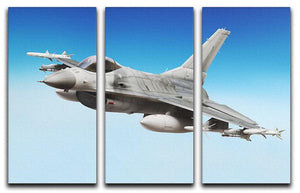 Military fighter jet close up 3 Split Panel Canvas Print - Canvas Art Rocks - 1