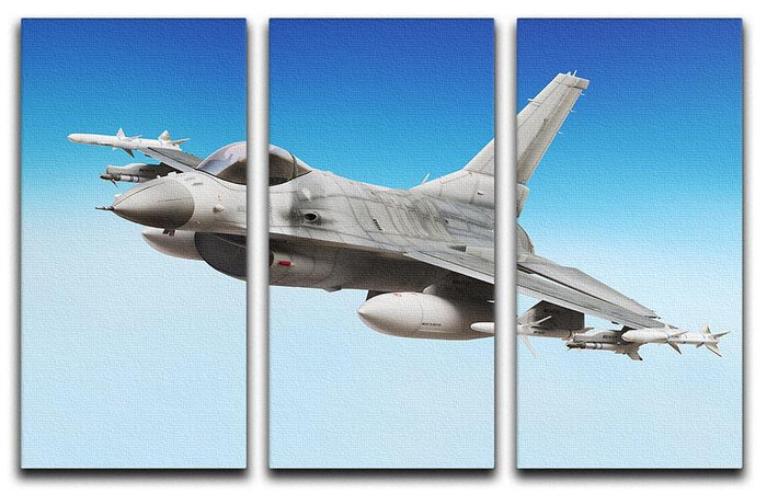Military fighter jet close up 3 Split Panel Canvas Print