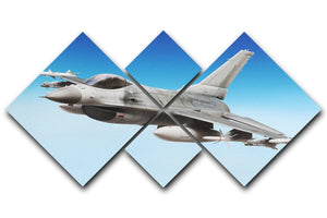 Military fighter jet close up 4 Square Multi Panel Canvas  - Canvas Art Rocks - 1