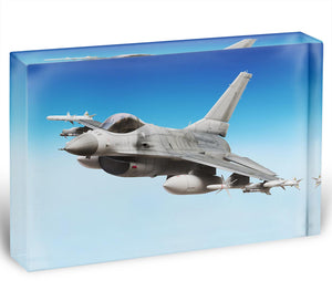 Military fighter jet close up Acrylic Block - Canvas Art Rocks - 1