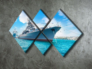 Military sea landscape with blue sky 4 Square Multi Panel Canvas  - Canvas Art Rocks - 2