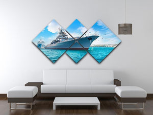 Military sea landscape with blue sky 4 Square Multi Panel Canvas  - Canvas Art Rocks - 3