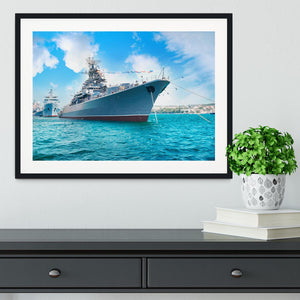 Military sea landscape with blue sky Framed Print - Canvas Art Rocks - 1