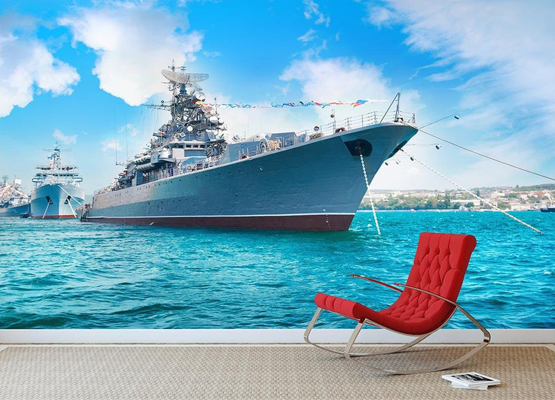 Military sea landscape with blue sky Wall Mural Wallpaper - Canvas Art Rocks - 1
