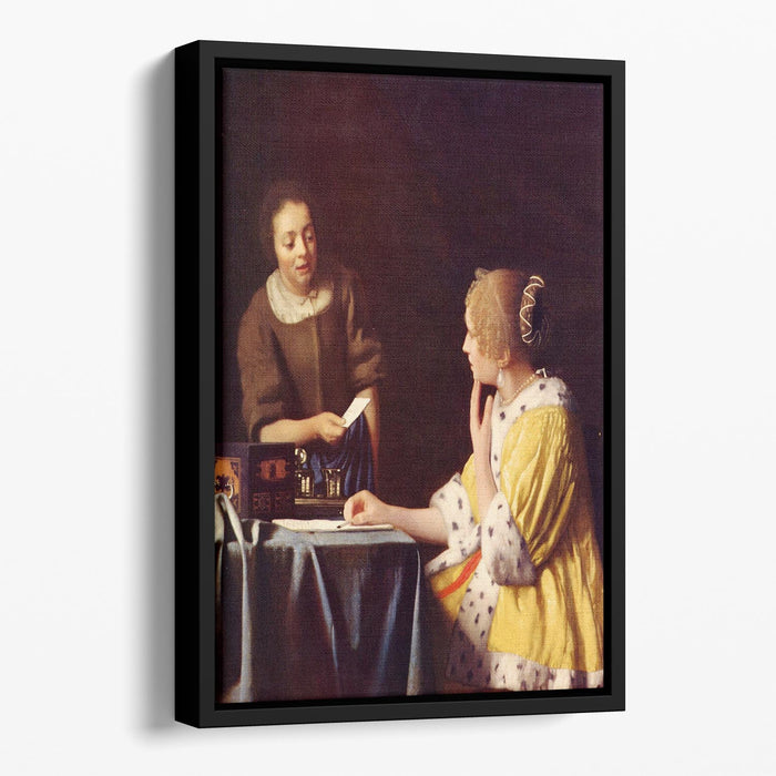 Mistress and maid by Vermeer Floating Framed Canvas